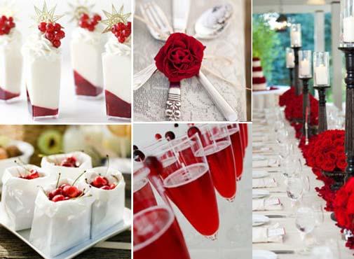 красный декор свадебных столов