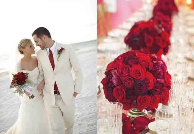 красные цветы на свадьбе