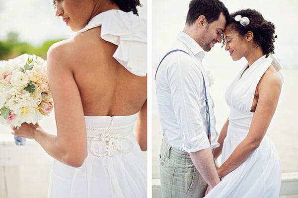 Оригинальное свадебное платье в морском стиле