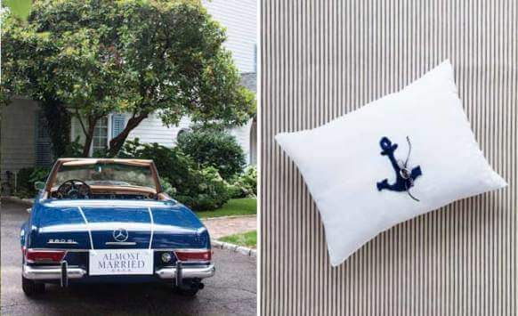 свадебное синее авто и подушечка для колец