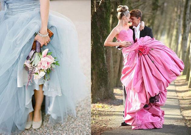 Свадебные платье: розовое и голубое