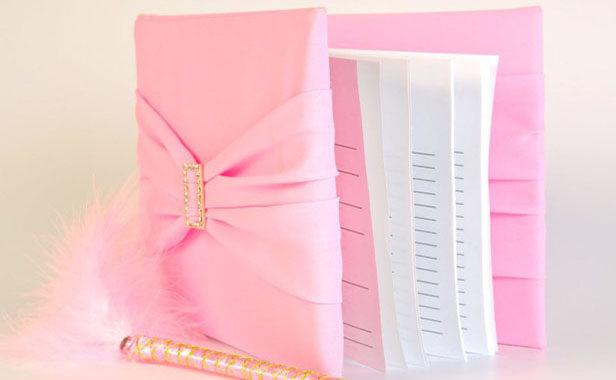 Книга пожеланий на свадьбу в розовом цвете