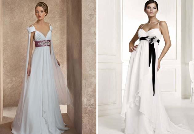 цветные пояса на белых платьях