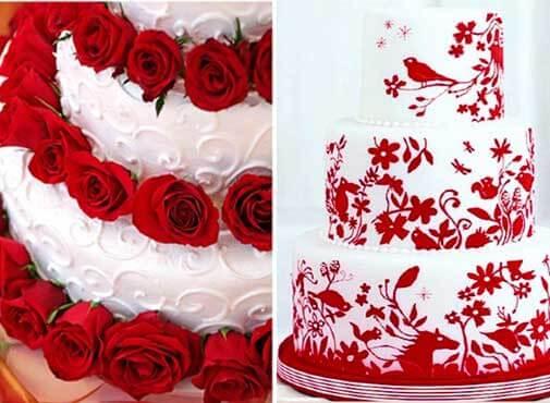 свадебные торты с красным цветом