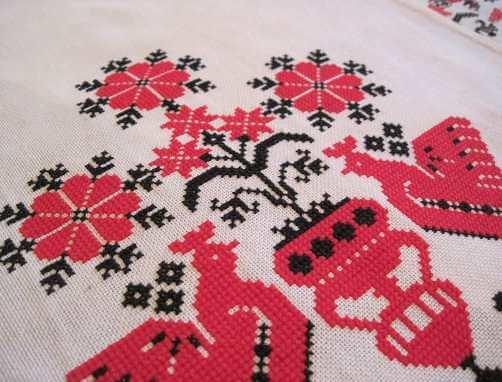 узор на свадебный рушник-петух