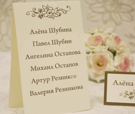 табличка с именами гостей на бумаге