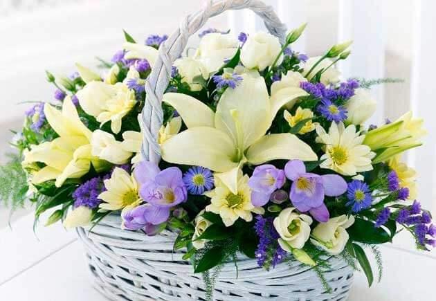 Цветочная корзина на свадьбу