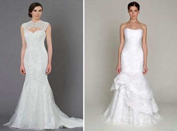 свадебное платье с кружевом русалка