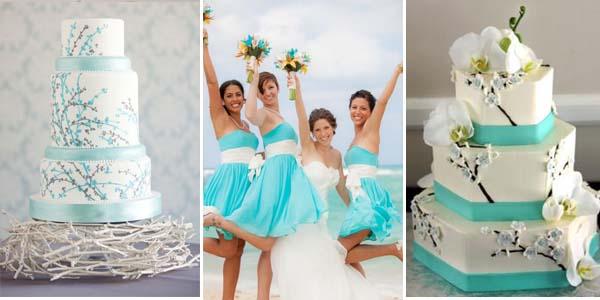 бирюзовый и белый в свадебных нарядах