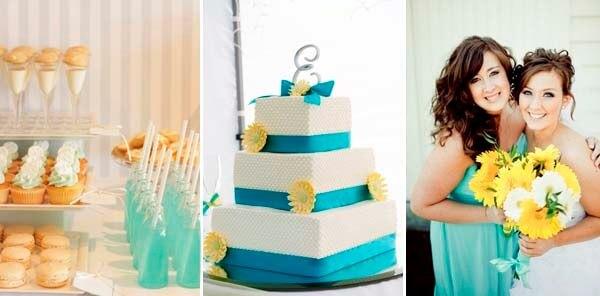 бирюзовый и желтый на свадьбе