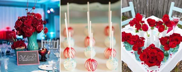 бирюзовый красный в декоре свадьбы