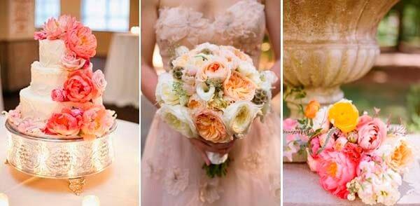 коралловый и бежевый в свадебном торте