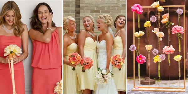 коралловый и лимонный в свадебных нарядах