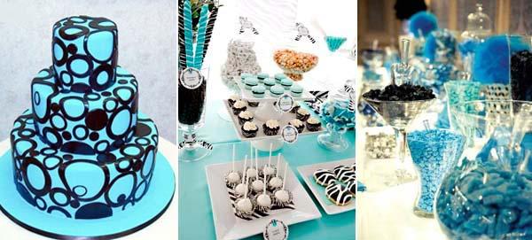 черный и синий в свадебной выпечке
