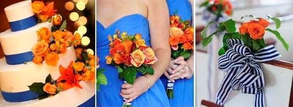 синий и оранжевый в нарядах на свадьбе
