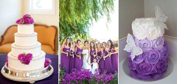 фиолетовый с белым свадебный торт