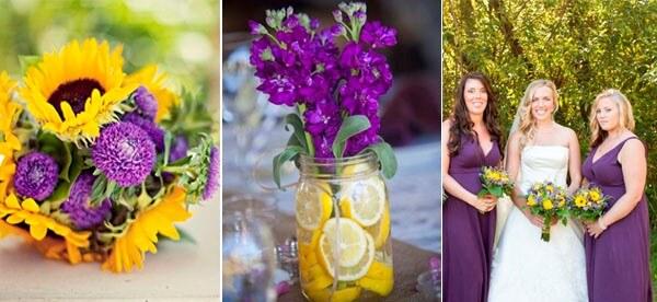 фиолетовые цветы и желтые лимоны