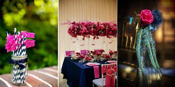 синий свадебный стол с цветами оттенка фуксии
