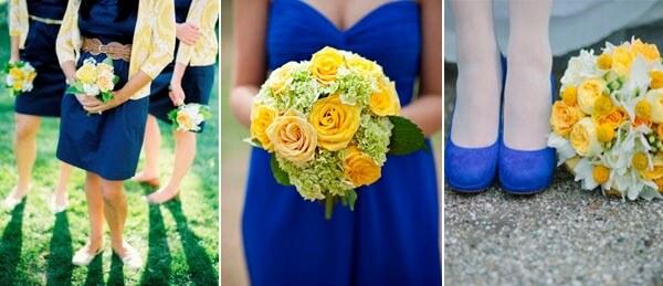 желтый и синий в декоре свадьбы