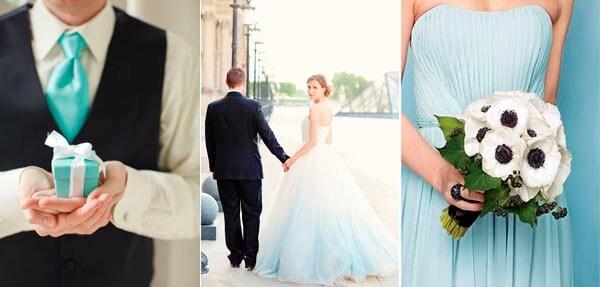 голубой и черный в свадебных нарядах