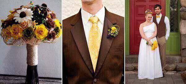 коричневый и желтый в образе жениха