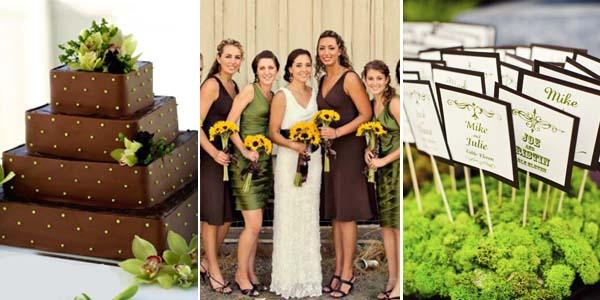 коричневый и зеленый на свадебном торте
