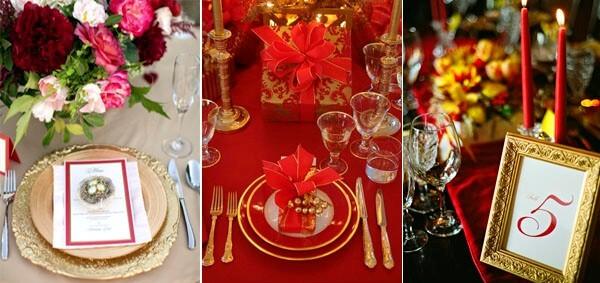 красный и золотой в сервировке свадебного стола