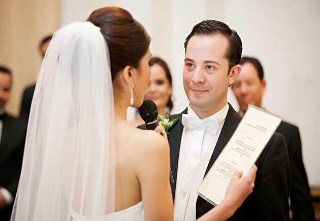 невеста читает клятву жениху