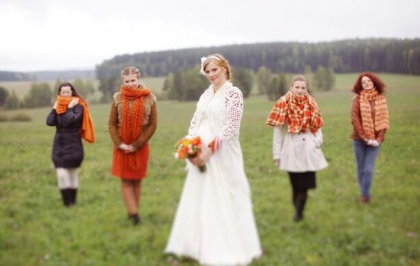 невеста в кружевной шали