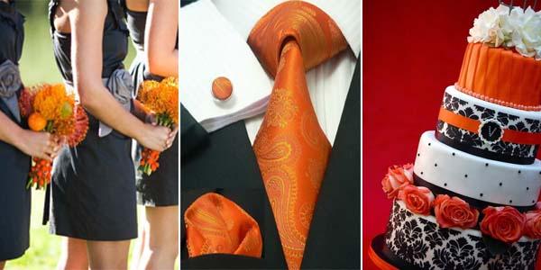 оранжевый и черный в наряде жениха