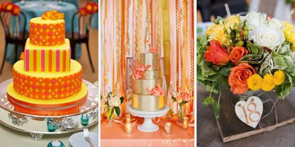 оранжевый и желтый на свадебном торте