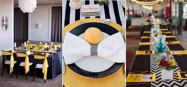 желтый и черный в декоре свадебного зала