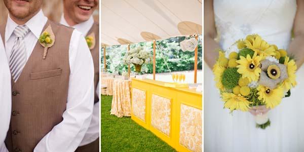 свадебный зал и букет в желто-бежевых цветах