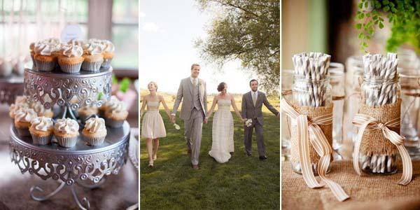 серый и бежевый в декоре свадебных столов