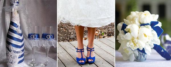 синие туфли невесты и синий декор