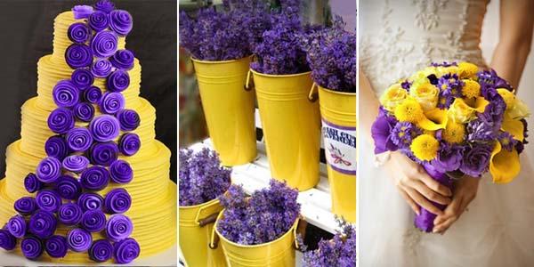 сиреневый желтый на свадебном торте