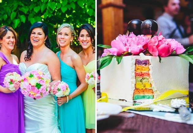 подружки невесты в ярких платьях