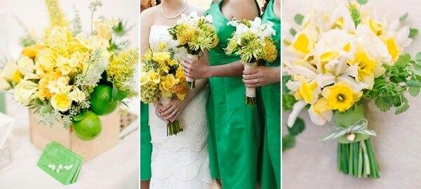 желтые цветы в свадебных букетах