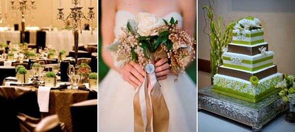 зеленый и коричневый в декоре свадебного зала