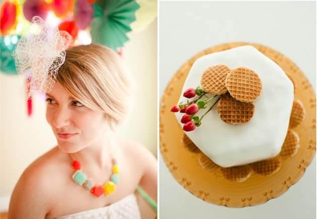 невеста с разноцветными бусами в форме сот