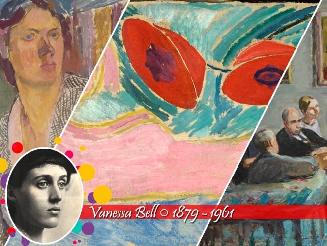 exemplo de três obras de vanessa Bell, a primeira um retrato, a segunda uma pintura abstrata e o terceiro representando várias pessoas em tons sóbrios. Abaixo, sua foto (em preto e branco ) e nome, seguido dos anos 1879 e 1961, de nascimento e morte, respectivamente!