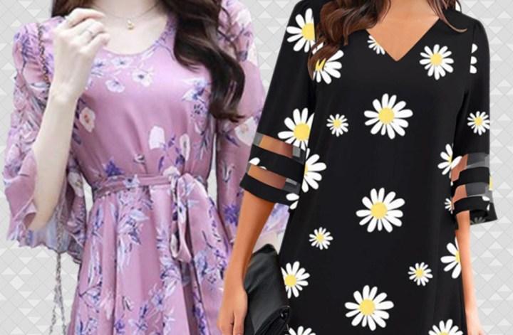 Imagem contendo dois vestidos, um rosa claro florido acinturado e outro preto com margaridas sem cintura muito marcada, ambos recortados sobre fundo geométrico.