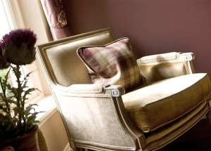 Luxurious Chair Chenille and Plaid - Interior Designer Edinburgh