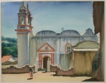 """Church in Mexico"" 17x22 inch watercolor by Arthur G. Rider"