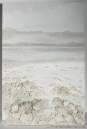 """""""Crystal Morning Mist"""" 36x24 in. oil on panel with calcite, quartz and zeolite"""