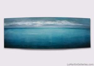 """Deep Blue Sea"" 24x65 in. acryli, resin on convex panel"