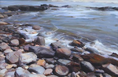 """SOLD """"Rocks by the Sea"""" 20x30 in. oil/canvas by Ruo Li - Bronze Medal awarded, Oil Painters of America National Juried Exhibition 2015, Master Signature Division"""