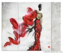 """Dance For Life"" 60x72 in. triptych ink, acrylic, oil, Swarovski"