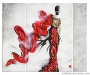 """""""Dance For Life"""" 60x72 in. triptych ink, acrylic, oil, Swarovski"""