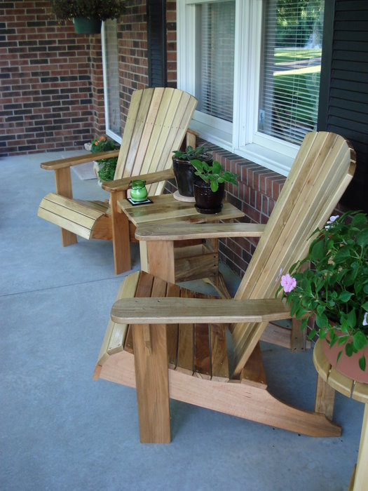 Adirondack Chairs Table And Plant Stand By Mork